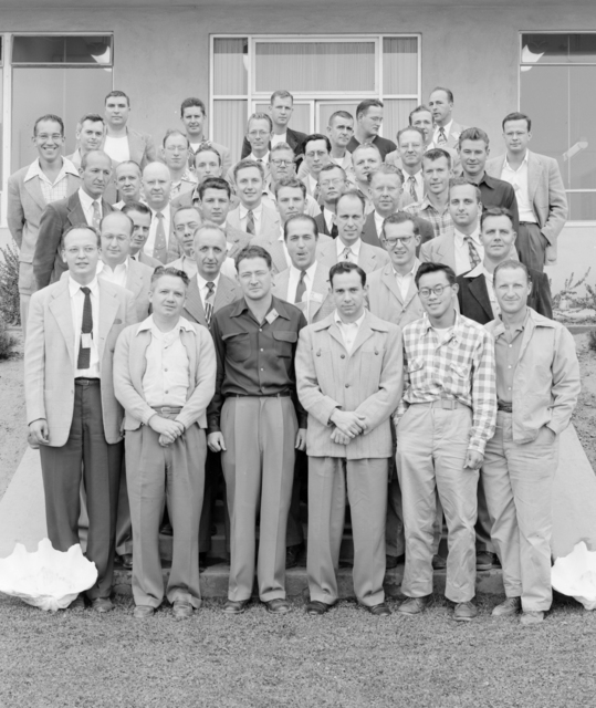 Measurements Project Group associated with Atom Bomb testing at Eniwetok Atoll. Between July 1945 and November 1962 the United States conducted at least 216 atmospheric and underwater nuclear tests. Ernest Orlando Lawrence, third row from front, second from right. Photograph taken July 23, 1951. Measurements Project-262