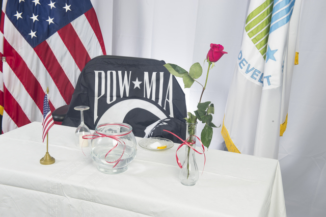 [Memorial Day preparations, HUD headquarters:]  Prisoners of War-Missing in Action (POW/MIA) Table