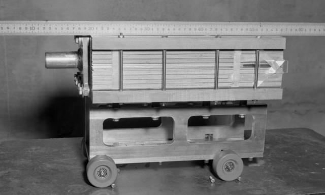 Model of 30 kilogram emulsion stock. Photograph taken February 24, 1955. Bevatron-836