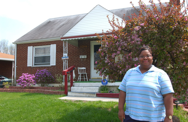 New homeowner Morningstar Armstrong in Cincinnati, Ohio, April 2005
