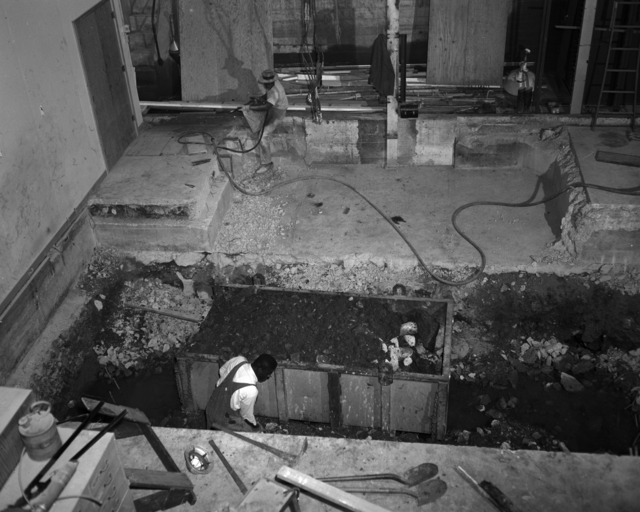 New pit being dug, building 16. Photograph taken February 27, 1959. Building-2015