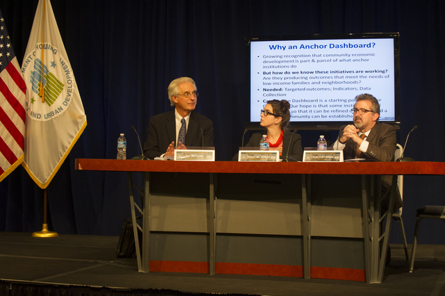 "[Office of University Partnerships-sponsored] conference on evaluating anchor institutions [in low-income communities (""Linking Anchor Institutions to Outcomes for Families, Children, and Communities: The Community Dashboard""),  featuring Deputy Assistant Secretary for University Partnerships, Sherone Ivey,  and guest panelists Ted Howard and Sarah McKinley (two of the authors of the white paper, ""The Anchor Dashboard: Aligning Institutional Practice to Meet Low-Income Community Needs,"" sponsored by the Democracy Collaborative at the University of Maryland), and Charles Rutheiser, Senior Associate at the Annie E. Casey Foundation]"