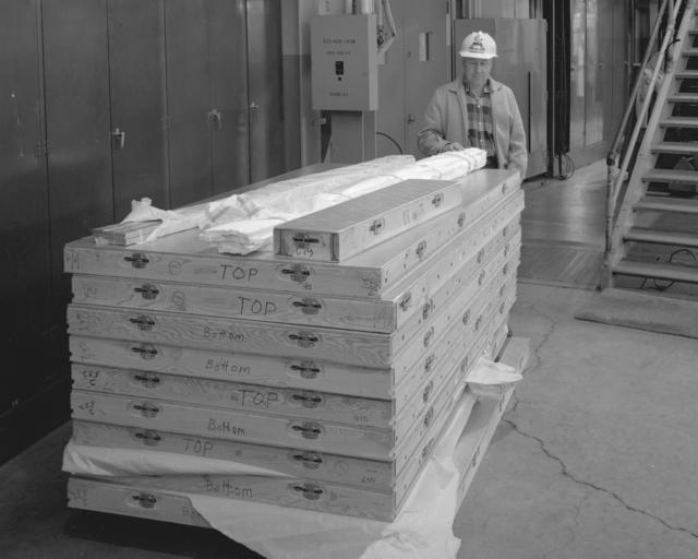 Ollie Olson in the modular experimental house within the Bevatron experimental facility. Photograph taken January 11, 1965. Bevatron-3698 – Photographer: Doug Bradley