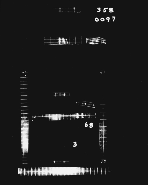 Optical distortion associated with spark chamber events. Photograph taken January 26, 1966. Bevatron-4027