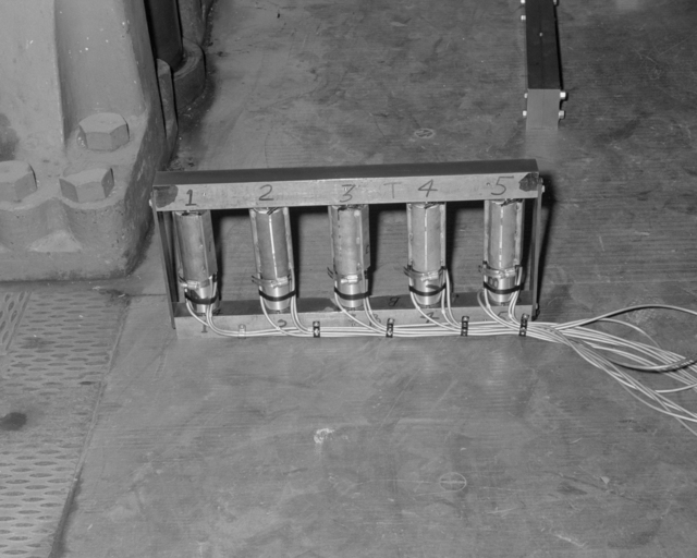 Outside radius stanchion loaded cells. Photograph taken February 15. 1956. Bevatron-1020