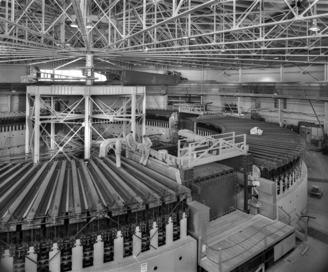Overall view of bevatron. Photograph taken December 4, 1953. Patent clearance 3/21/1960. Bevatron-627