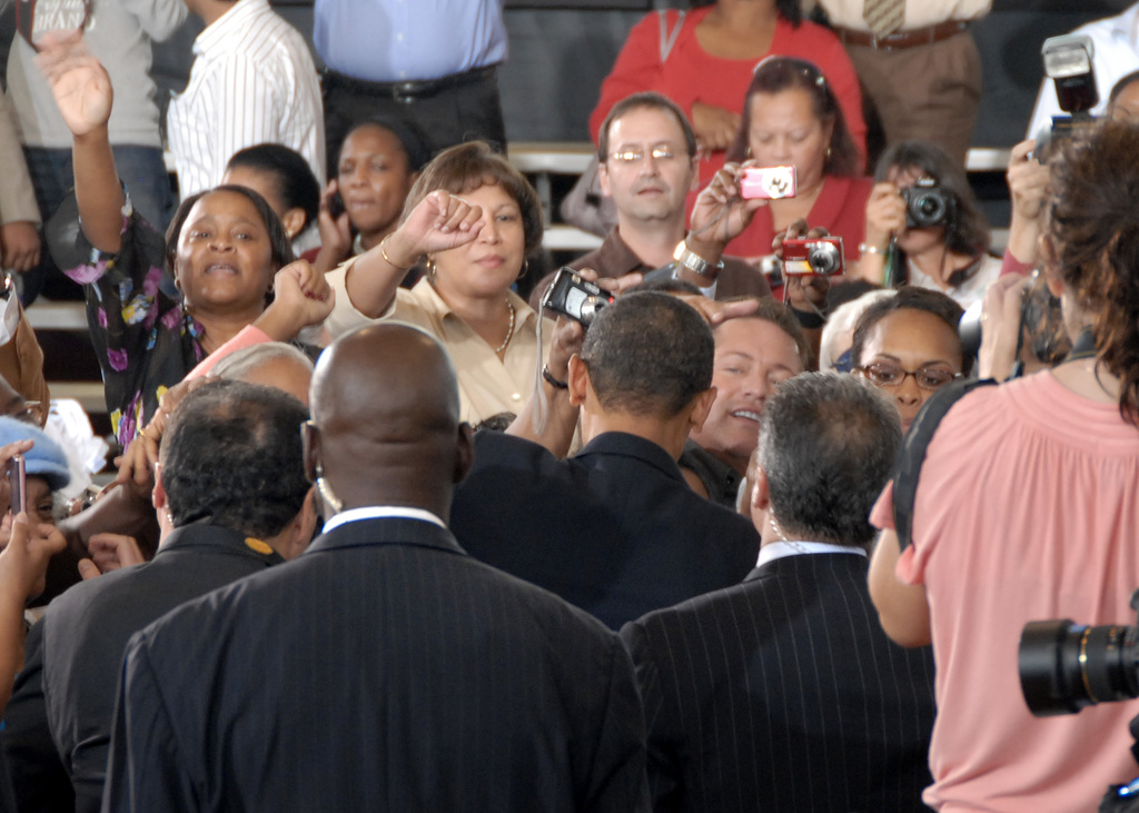 President Barack Obama delivering address, greeting crowd in New Orleans, Louisiana