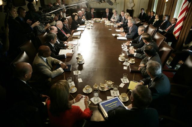 President George W. Bush gestures as he speaks to members of the Homeland Security Council, Monday, September 19, 2005, in the Cabinet Room of the White House. [HUD Secretary Alphonso Jackson joined the other Cabinet members, Vice President Dick Cheney, leading Presidential and Vice Presidential aides, military leaders among the] participants.