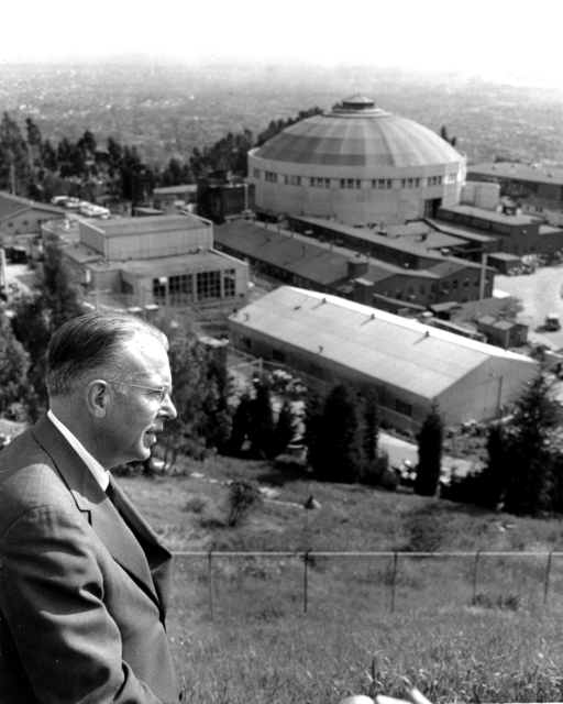 Professor Ernest Orlando Lawrence above the 184-inch cyclotron, looking toward the San Francisco Bay, circa 1956. Taken by Richard F. Hoorn, photographer for Pacific Gas and Electric Company (P.G.E.) Morgue 1958-8 (P-59)