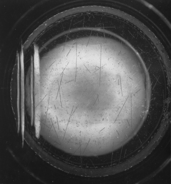 Pulsed beam of 14 meV neutrons on 2 1/2-inch bubble chamber. Photograph taken October 29, 1956. Bubble Chamber-113