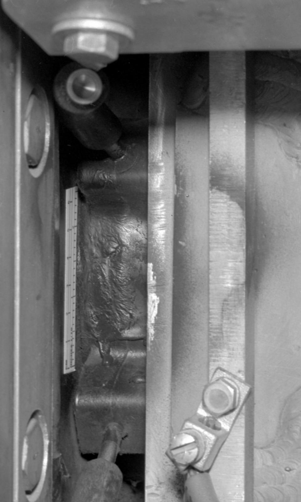 Q II-89-degree bellows radiation damage outside west platform. Photograph taken November 2, 1965. Bevatron-3960 – Photographer: Doug Bradley
