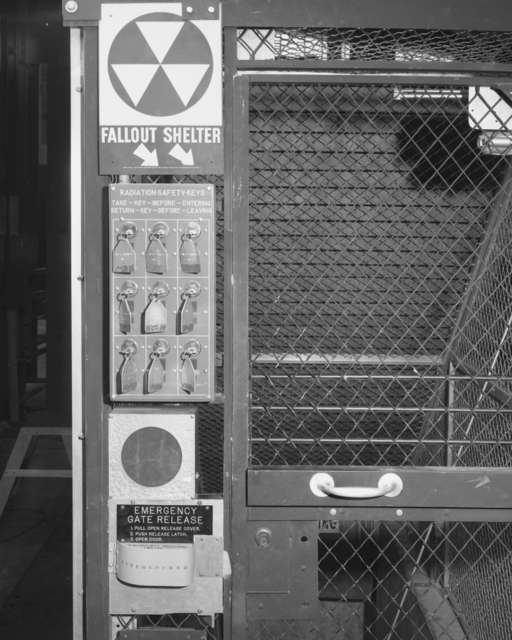 Radiation safety gate and Bevatron control panel for safety gate. Photograph taken January 5, 1965. Bevatron-3693 – Photographer: Doug Bradley