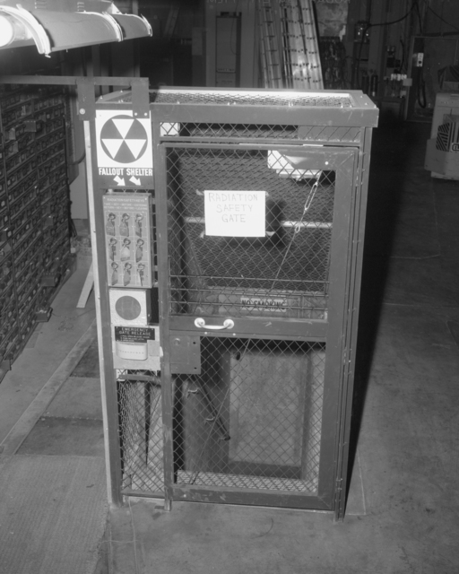 Radiation safety gate and Bevatron control panel for safety gate. Photograph taken January 5, 1965. Bevatron-3695 – Photographer: Doug Bradley
