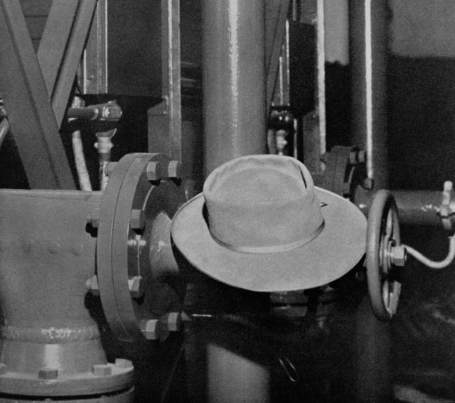 "Robert Oppenheimer's ""pork-pie"" hat. Robert Oppenheimer, the physicist known as the father of the atomic bomb frequently wore a pork pie hat (Wikipedia entry, 2009). Morgue 1944-101 (P-1) [Photographer: Donald Cooksey]"