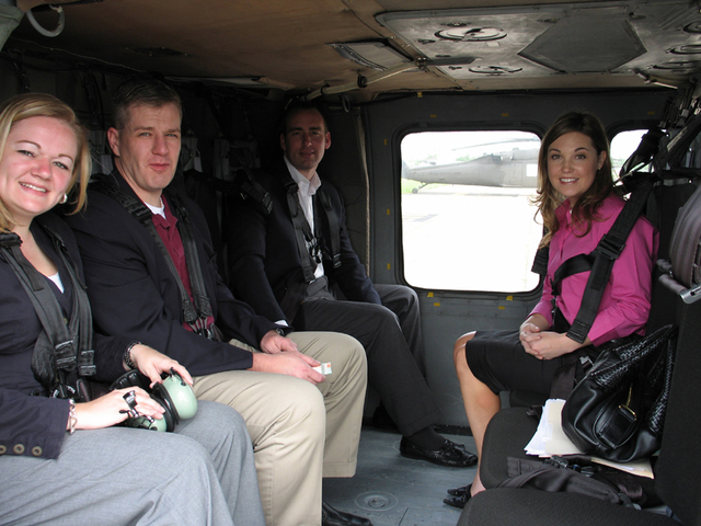 Secretary Alphonso Jackson and aides flying over and touring areas of east Texas after Hurricane Rita