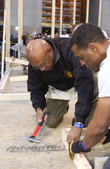 Secretary Alphonso Jackson [and aides] in New York City, New York [for appearance] on the NBC Today Show doing a Habitat for Humanity build