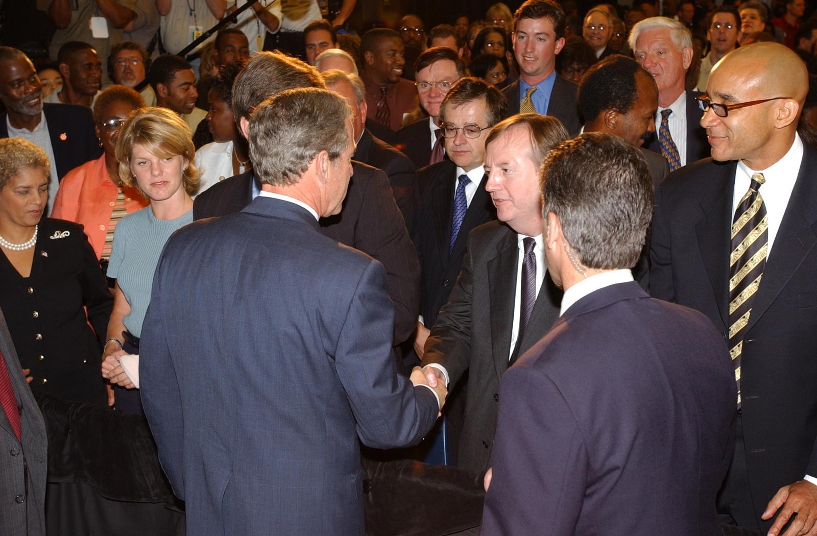 Secretary Mel Martinez,  [Deputy Secretary Alphonso Jackson, other HUD officials visiting]  Atlanta, Georgia,  where they joined President George W. Bush at events celebrating Homeownership Month