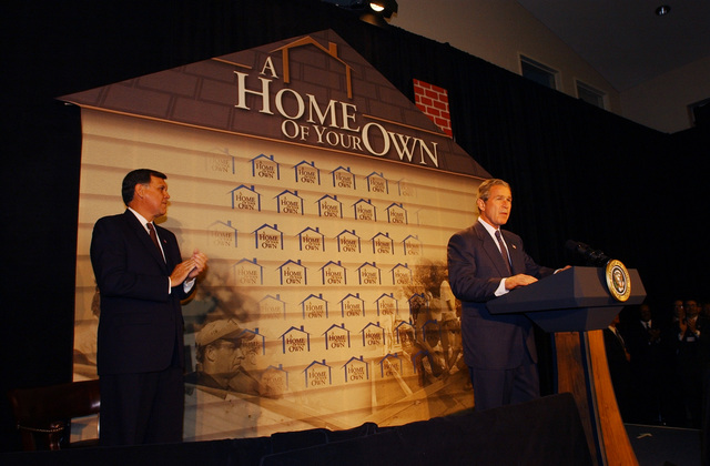 Secretary Mel Martinez,  [Deputy Secretary Alphonso Jackson, other HUD officials visiting]  Atlanta, Georgia,  where they joined President George W. Bush at events celebrating Homeownership Month