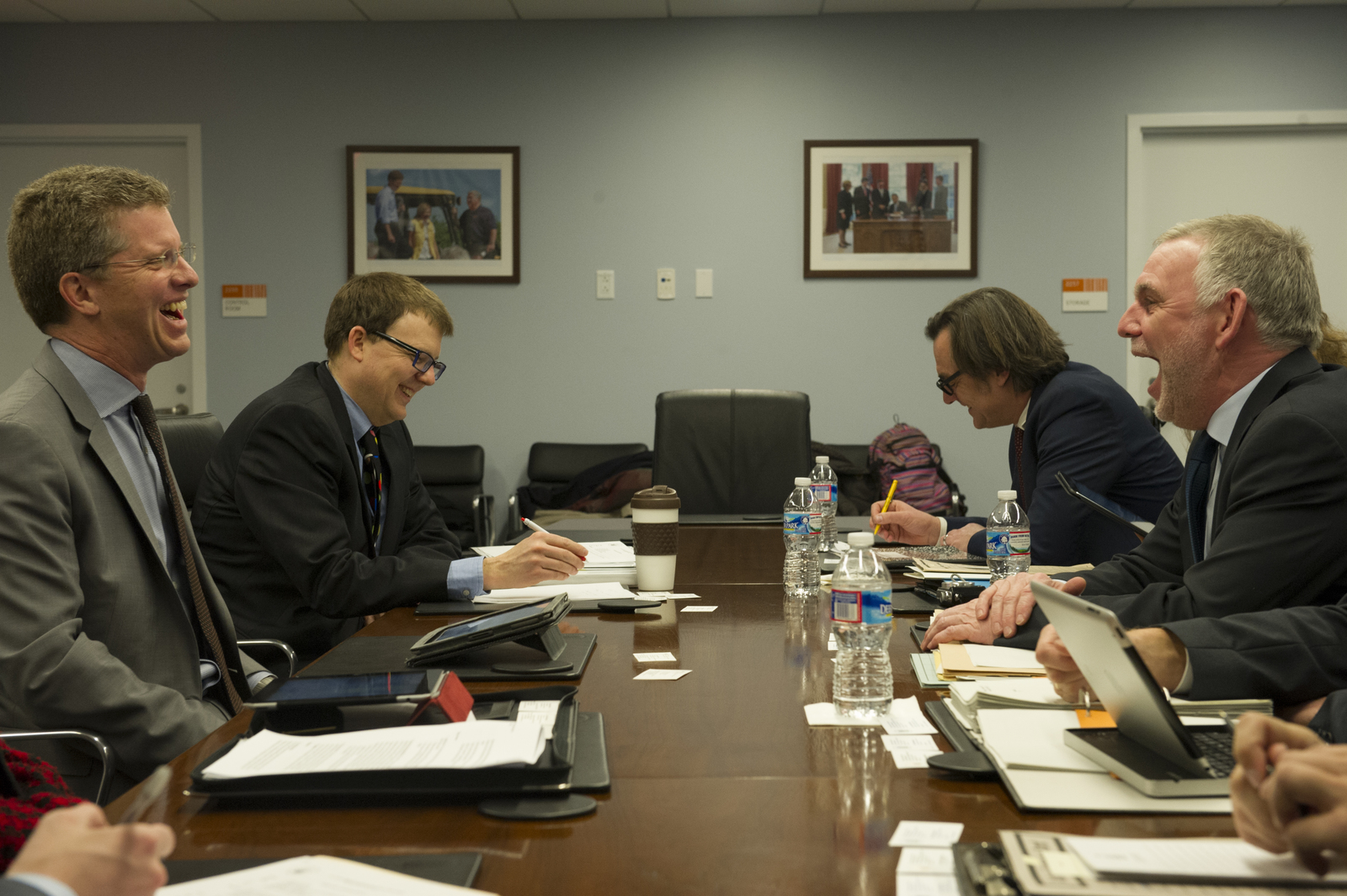 Secretary Shaun Donovan [and aides meeting] with German Planning Minister [and associates, at HUD headquarters]