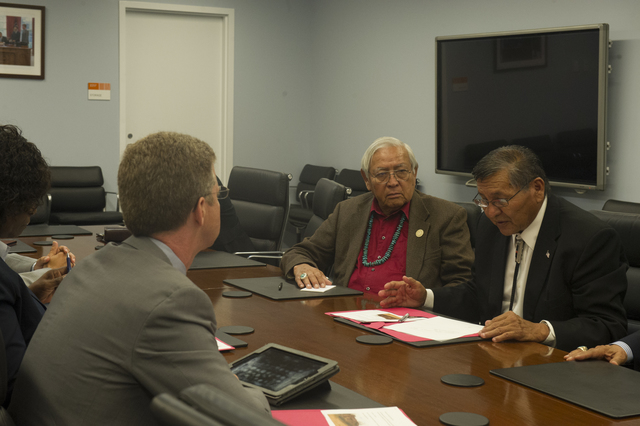 Secretary Shaun Donovan [and aides] meeting with Navajo Nation President Ben Shelly [and associates, at HUD headquarters]