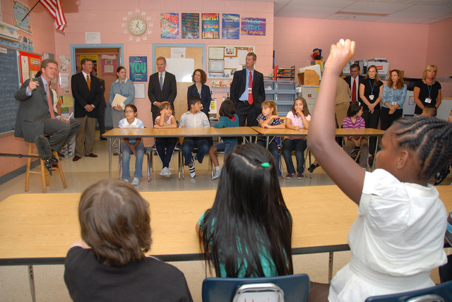 Secretary Shaun Donovan [and other dignitaries] address schoolchildren at Viers Mill Elementary School in Silver Spring, Maryland. [Joining Secretary Donovan for the classroom visit were Education Secretary Arne Duncan, Maryland Congressman Chris Van Hollen, and Montgomery County Superintendent of Education Jerry Weast, among others.]