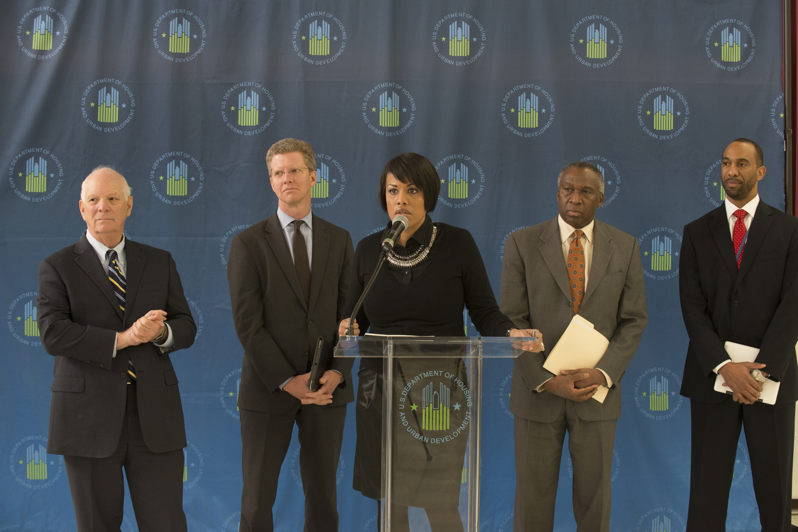 Secretary Shaun Donovan in Baltimore, Maryland [for tour of] Cherry Hill [Homes and press conference highlighting energy efficient updates implemented as part of the Obama Administration's Better Buildings Challenge. Joining Secretary Donovan were Baltimore Mayor Stephanie Rawlings-Blake, Maryland Senator Ben Cardin, Maryland Secretary of Housing and Community Development Raymond Skinner, and Housing Authority of Baltimore City Deputy Executive Director Anthony Scott, among others.]