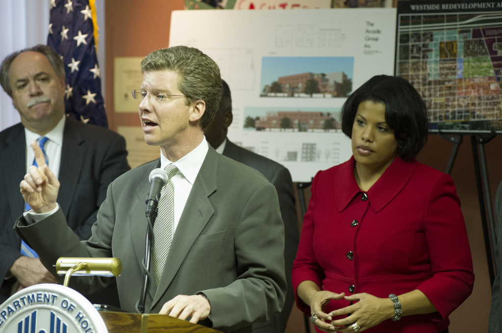 Secretary Shaun Donovan in Baltimore, Maryland, [where he toured the Poppleton Apartments--undergoing energy-efficient retrofitting thanks to a $1.5 million HUD Green Retrofit Program (GRP) grant--and led a press conference highlighting the economic and environmental benefits of the GRP,  funded under the American Recovery and Reinvestment Act. Secretary Donovan was joined by Maryland Senator Ben Cardin, Maryland Congressman Elijah Cummings, Maryland Secretary of Housing and Community Development Raymond Skinner, Baltimore Mayor Stephanie Rawlings-Blake, and other state and local officials.]