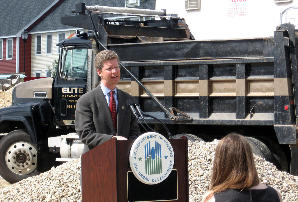 Secretary Shaun Donovan in Bow, New Hampshire,  [where he visited Bow Highlands,  an affordable housing project currently under construction with Recovery Act Tax Credit Assistance Program funds. The project will create 97 jobs and 20 new affordable housing units.]