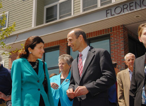 Secretary Shaun Donovan in Portland, Maine,  [where he joined Maine Governor John Baldacci, Maine Senator Susan Collins, and other dignitaries for the official opening of Florence House, an efficiency apartment/shelter complex designed to combat homelessness]