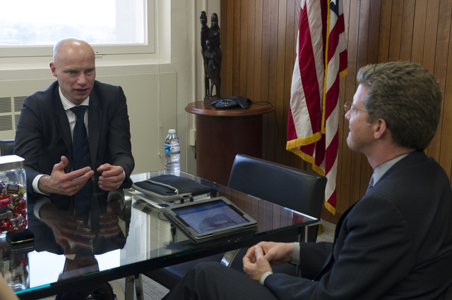Secretary Shaun Donovan meeting with Henk Ovink, Acting Director-General of Spatial Planning and Water Affairs in Netherlands'  Ministry of Infrastructure and the Environment.  [Ovink will be serving as a Senior Advisor for the Hurricane Sandy Rebuilding Task Force, under a U.S.-Netherlands Memorandum of Understanding.]
