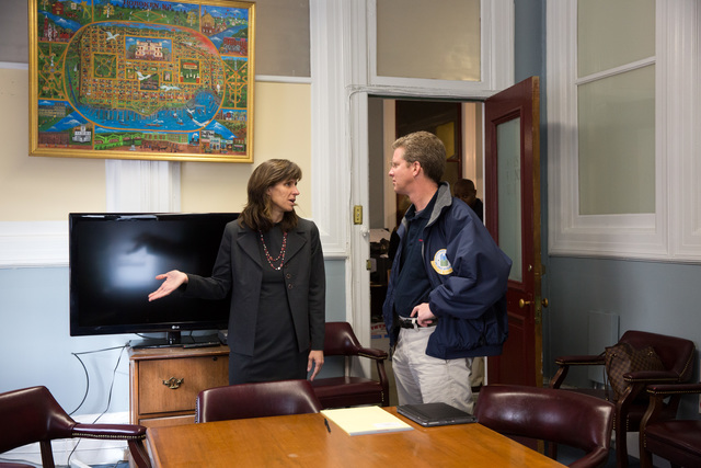 Secretary Shaun Donovan meets with Hoboken Mayor Dawn Zimmer, Senator Robert Menendez and staff to discuss the city's needs, following Hurricane Sandy,  at the Hoboken City Hall, Hoboken, New Jersey.  Other participants include Hoboken Director of Health and Human Services Leo Pelligrini, Mayor Zimmer's Chief of Staff Daniel Bryan, and HUD staff members Mirza Orriols, Diane Johnson, and Lopa Kolluri.