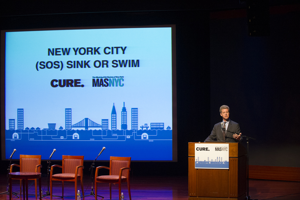 """Secretary Shaun Donovan speaking at conference,  """"New York City--Sink or Swim (SOS): [Principles and Priorities for Waterfront Restoration in Post-Sandy Era,"""" co-sponsored by Columbia University's Center for Urban Real Estate and the New York Municipal Art Society, at New York City's Museum of Jewish Heritage]"""