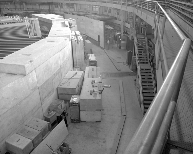 Shielding for neutrons. Photograph taken April 30, 1959. Bevatron-1790