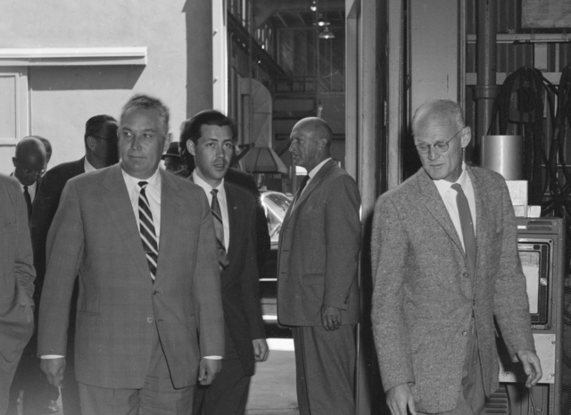 Soviet/Russian Lab visitors. From left, Soviet Ambassador to the US Mikhail Menshikov; Frol Kozlov (First Deputy Chairman, USSR Council of Ministers), interpreter; Robert Thornton, Radiation Laboratory; and Berkeley Police Inspector C. W. O'Meara (right rear). Photograph taken July 6, 1959