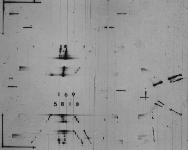 Spark chamber event. Photograph taken December 2, 1964. Bevatron-3675