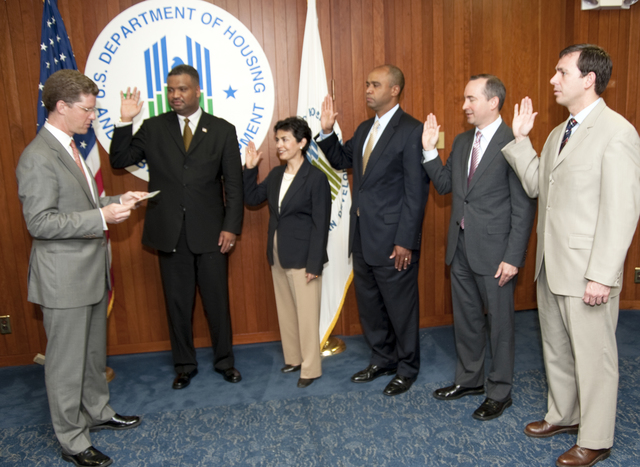 Swearing in ceremony for group of new HUD Regional Administrators, [including Adolfo Carrion, Ophelia Basgal, Ed Jennings, Anthony McLarty,  Christopher Murphy, and C. Donald Babers]