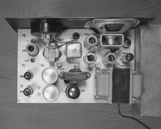 Telemetering receiver, top of chassis. Photograph taken March 14, 1956. Bevatron-1039