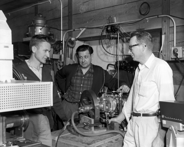 Tjorborn Sikkeland, Al Ghiorso, and Robert Main at the Hilac. Morgue 1957--13 (P-4) [Photographer: Donald Cooksey]