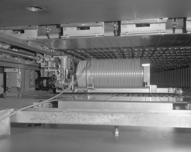 Tow mule Bevatron experiment facility gap-mounted flip target. Photograph taken December 29, 1965. Bevatron-3996 – Photographer: Doug McWilliams