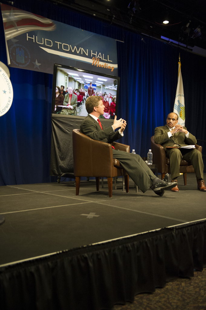 Town Hall meeting, with Secretary Shaun Donovan, Acting Deputy Secretary Estelle Richman, and Deputy Assistant Secretary for Public Affairs Jerry Brown [leading the proceedings]