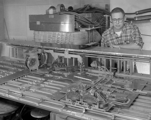 Traveling target Mark VIII-T, with Bob Edwards. Photograph taken April 19, 1960. Bevatron-2032