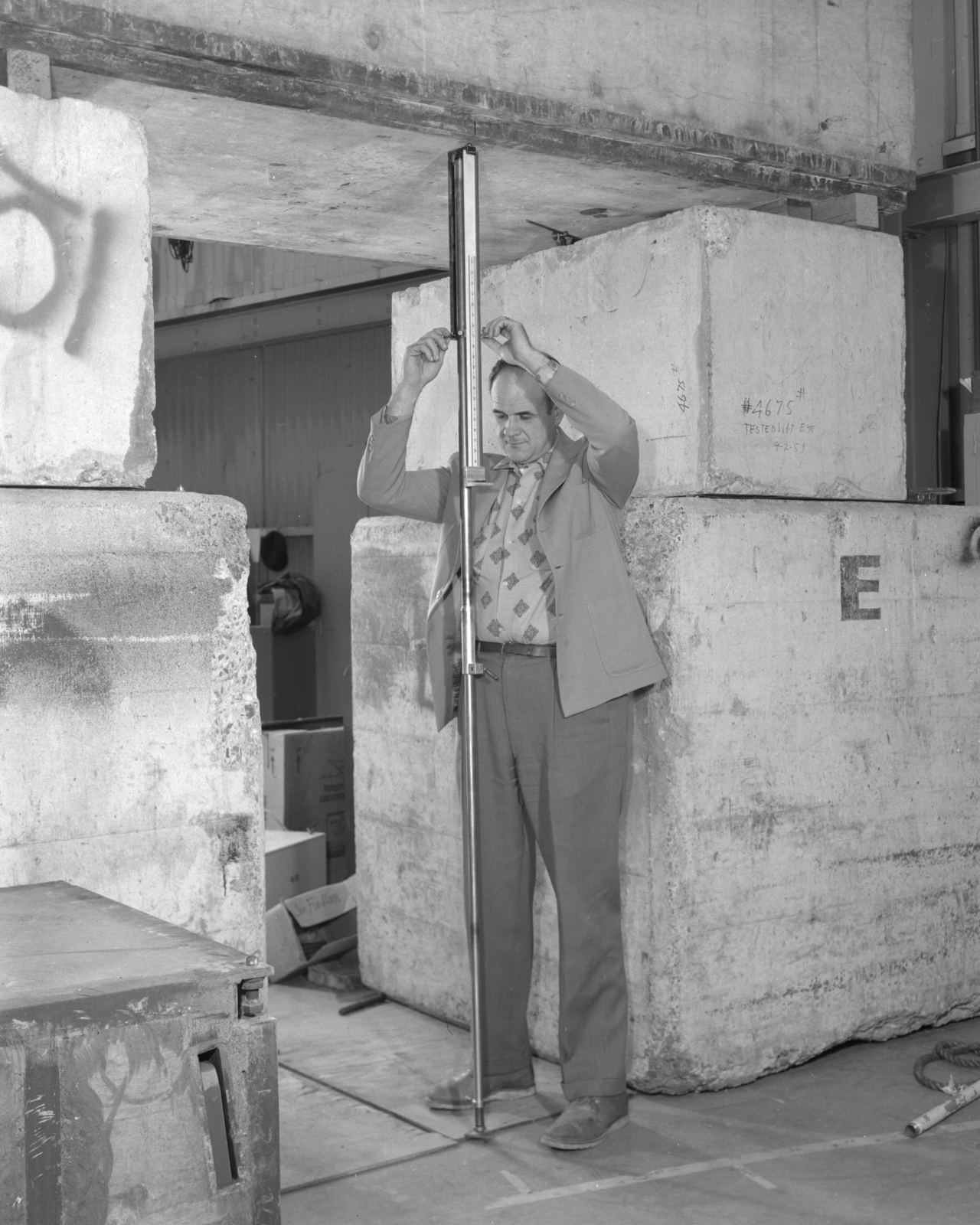 Tunnel elevation rod, Tran Canton. Photograph taken March 6, 1962. Bevatron-