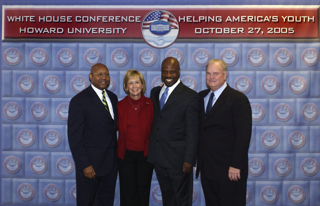 White House Conference on Helping America's Youth at Howard University in Washington, D.C.,  [with Secretary Alphonso Jackson among the dignitaries on hand]