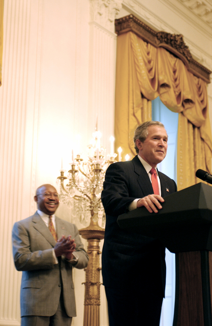 White House event, led by President George W. Bush, [honoring Black History Month,]  with Acting Secretary Alphonso Jackson [among the dignitaries on hand]