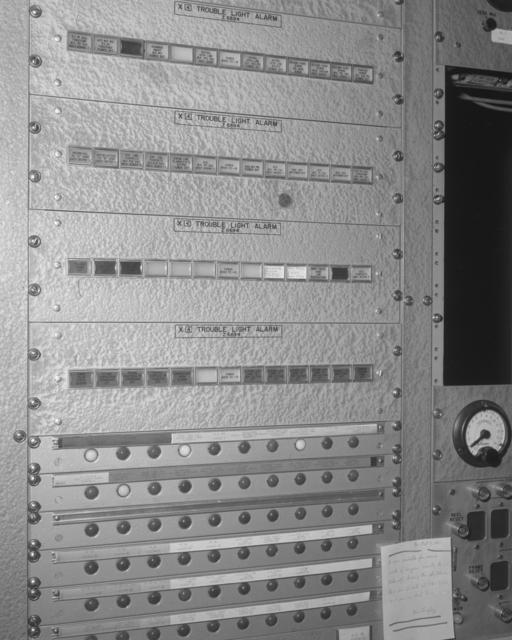 X4 trouble panel, bubble chamber. Photograph taken October 20, 1961. Bevatron-2445 – Photographer: George Kagawa