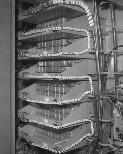 X4 trouble panel, bubble chamber (rear). Photograph taken October 20, 1961. Bevatron-2446 – Photographer: George Kagawa