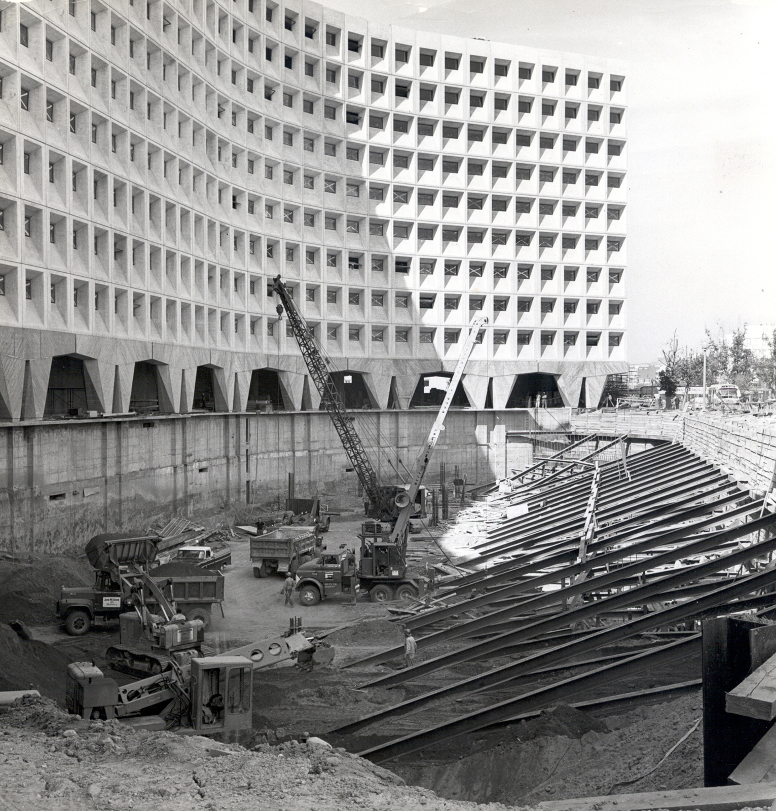 From historical photo display in HUD headquarters hallway:  Robert C. Weaver Federal Building under construction, Washington, D.C.