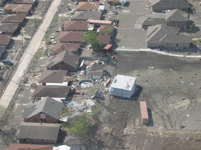 Hurricane Katrina, Louisiana. [Damage, cleanup, city views, emergency centers, HUD personnel.]