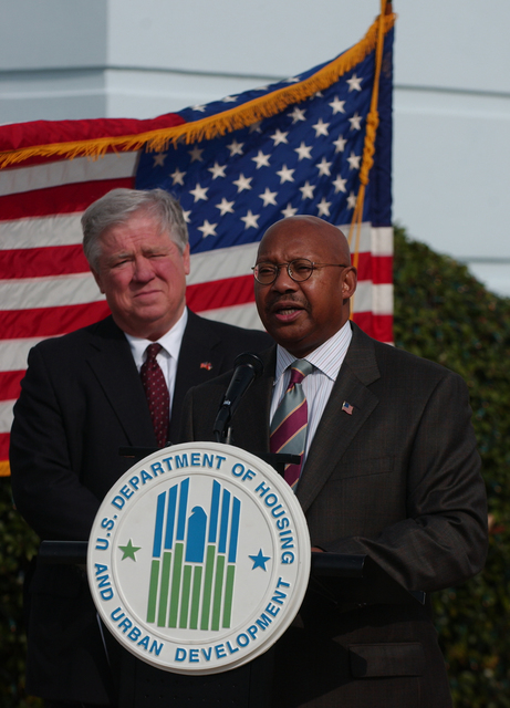 Mississippi, One year after Katrina [compilation:] Views of Hurricane Katrina-related damage, recovery efforts in Biloxi, Mississippi area;  and announcement in Gulfport by Secretary Alphonso Jackson, with Mississippi Governor Haley Barbour and Senator Thad Cochran, of $700 million plan to help Mississippi low-income, elderly, and disabled homeowners rebuild