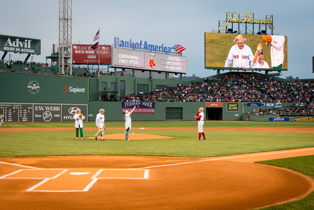 Office of the Administrator - Boston - Administrator Gina McCarthy in Boston throwing a pitch at Fenway Park and presenting an award to President and CEO of the New England Aquarium, Bud Ris [412-APD-1216-D823090.jpg]